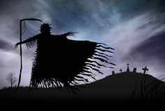 Silhouette of a Grim Reaper. Illustration - Silhouette of a Grim Reaper or fantasy evil spirit in a graveyard at night. Good for background. Digital painting Stock Photos