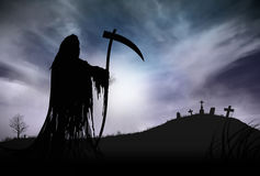 Silhouette of a Grim Reaper. Illustration - Silhouette of a Grim Reaper or fantasy evil spirit in a graveyard at night. Good for background. Digital painting Stock Image