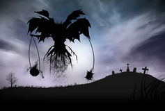 Silhouette of a Grim Reaper. Illustration - Silhouette of a Grim Reaper or fantasy evil spirit in a graveyard at night. Good for background. Digital painting Royalty Free Stock Image