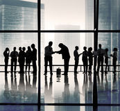 Silhouette Group of Business People Greeting Concept Royalty Free Stock Photo
