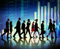 Silhouette Group of Business People Growth Concept Stock Images