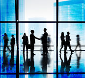 Silhouette Group of Business People Handshake Concept Royalty Free Stock Photo
