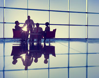 Silhouette Group of Business People Meeting Royalty Free Stock Photo