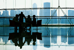 Silhouette Group of Business People Meeting Stock Image