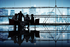 Silhouette Group of Business People Meeting Royalty Free Stock Photos