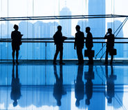 Silhouette Group of Business People Meeting.  Royalty Free Stock Image