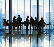 Silhouette Group of Business People Meeting Concept Royalty Free Stock Photo
