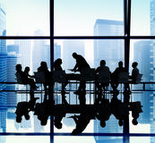 Silhouette Group of Business People Meeting Concept Stock Images