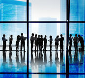 Silhouette Group of Business People Meeting Concept Royalty Free Stock Photos