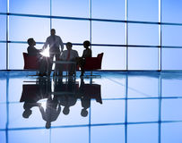 Silhouette Group of Business People Meeting Concept Stock Image