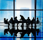 Silhouette Group of Business People Meeting Concepts Royalty Free Stock Images