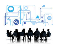 Silhouette Group of Business People with Meeting Table Stock Photography