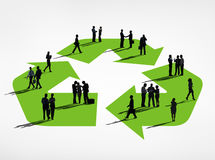Silhouette Group of Business People with Recycle Symbol.  Royalty Free Stock Photo