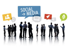 Silhouette Group of Business People with Social Media Concept Royalty Free Stock Photography
