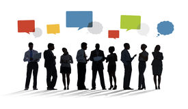 Silhouette Group of Business People with Speech Bubbles Stock Photo