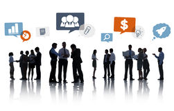 Silhouette Group of Business People with Speech Bubbles Royalty Free Stock Photos
