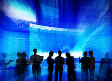 Silhouette Group of Business People Stock Market Concept Royalty Free Stock Photos