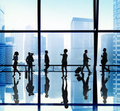 Silhouette Group Business People Urban Scene Concept Stock Image