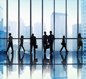 Silhouette Group Business People Urban Scene Concept stock images