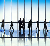 Silhouette Group of Business People Urban Scene Concept stock images