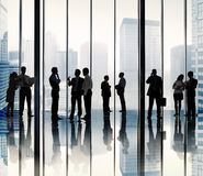 Silhouette Group of Business People Urban Scene Concept royalty free stock photography