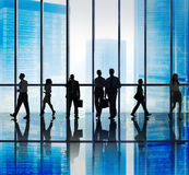 Silhouette Group of Business People Urban Scene Concept.  stock photo