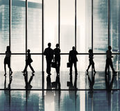 Silhouette Group of Business People Urban Scene Concept.  stock photos