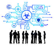 Silhouette Group of Business People with Virus Concept Royalty Free Stock Photos