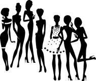Silhouette of group fashion girls Royalty Free Stock Photo