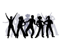 Silhouette Group Of People Dancing Stock Photography