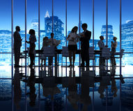 Silhouette Group Of People in Business Meeting Stock Photography