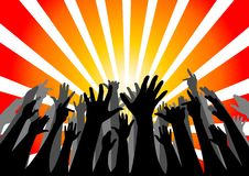 Silhouette of group of people cheering Stock Images