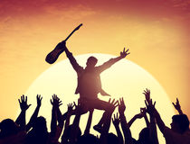 Silhouette Group of People in Concert stock image
