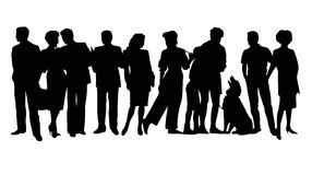Silhouette of a group of people Stock Images