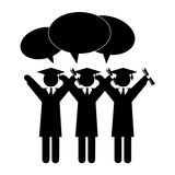 Silhouette group people graduated with dialog callout Royalty Free Stock Photos