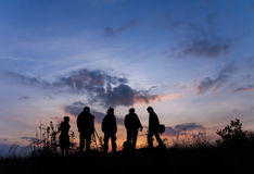Silhouette group of people stock photos