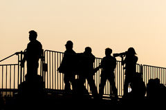 Silhouette the group of photographer Royalty Free Stock Photography