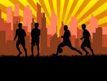 Silhouette of group soccer player in city. Background Royalty Free Stock Image