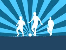 Silhouette of group soccer player. With sunset Royalty Free Stock Photo