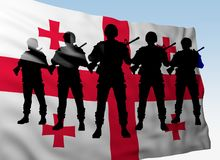 Silhouette group soldiers against flag of Georgia. Silhouette group soldiers against flag Georgia. 3d rendering royalty free stock images