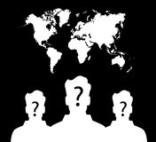 Silhouette of group unknown people on earth Stock Photo