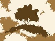 Silhouette grunge d'arbre Photographie stock