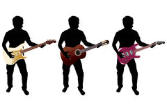 Silhouette + guitar. Three silhouettes with three different guitar (one acoustic and two electro guitars Stock Images