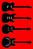 Silhouette Guitar Collection Stock Image