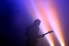Silhouette of the guitarist of Los Planetas (Spanish band), in concert at FIB Festival Royalty Free Stock Photography