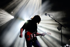 Silhouette of the guitarist of The War on Drugs (band), in concert at Vida Festival Stock Images