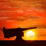 Silhouette of gun, the symbolize of the war. Silhouette of gun, the symbolize of the war on vector graphic art royalty free illustration