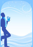 Silhouette of the guy. With a gift in New Year's evening Stock Illustration
