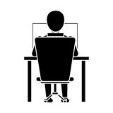 Silhouette guy back working laptop chair desk Royalty Free Stock Photo