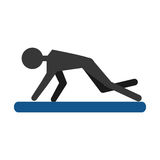 Silhouette guy exercising fitness sport pad Royalty Free Stock Photography